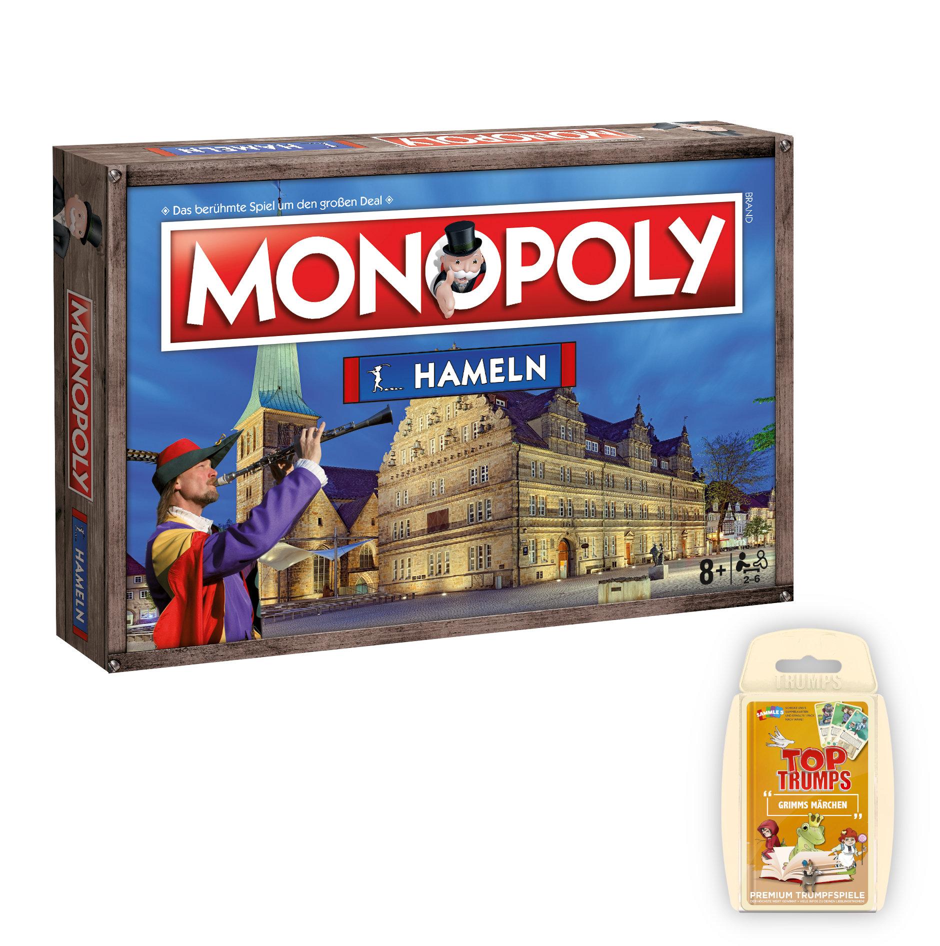 Monopoly Hameln inkl. Top Trumps Grimms Märchen im Spiel