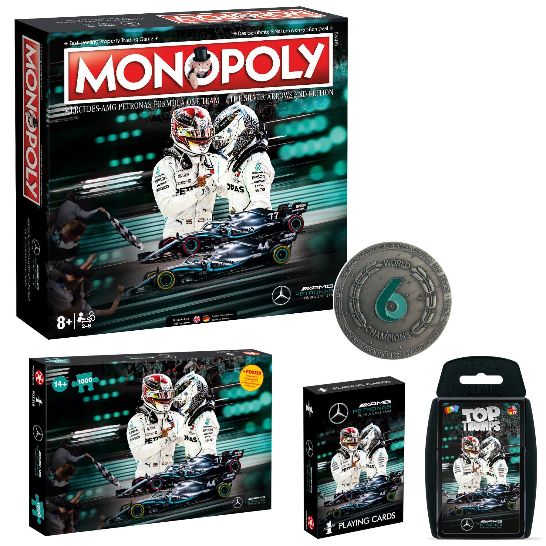 Mercedes Spielepaket: Monopoly + Coin + Spielkarten + Top Trumps + Puzzle