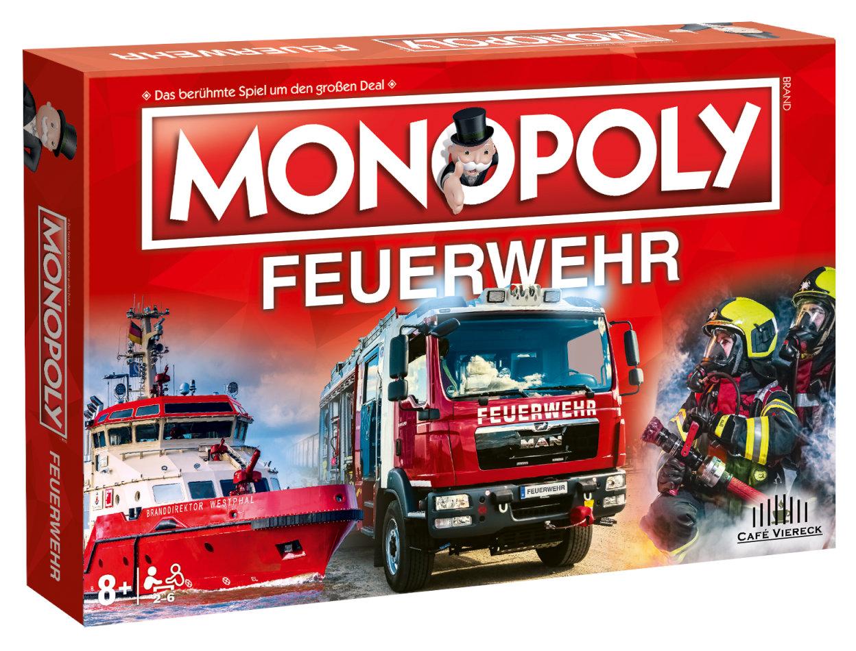 Monopoly Feuerwehr 2021 + Plüschfigur Benjamin Blümchen Feuerwehrmann mit Sound (15cm)