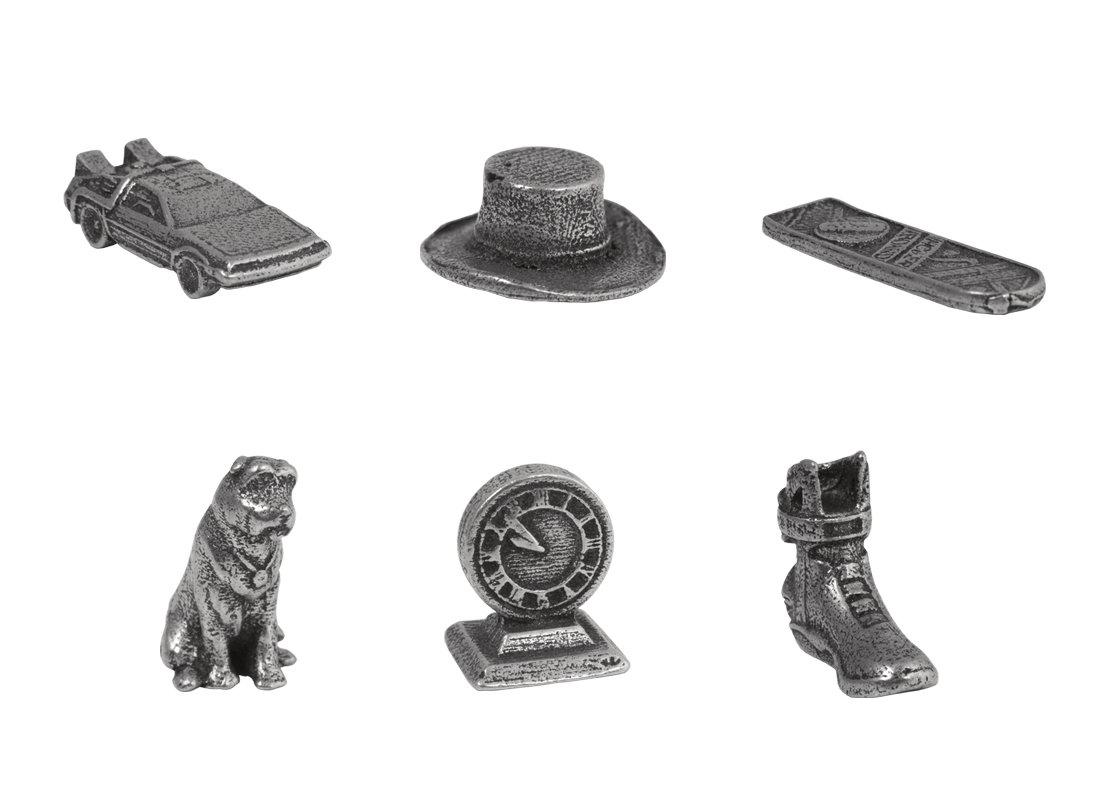 Spielfiguren DeLorean, Doc Browns Hut, Hoverboard, Einstein, Uhr und Schuh